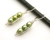 Peapod earrings. Three peas in a pod with green fresh water pearls.  Mothers day gift. Peapod jewelry.