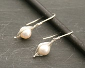 Peapod earrings. A snow pea in a pod pearl earrings  Mothers day gift. Peapod jewelry.