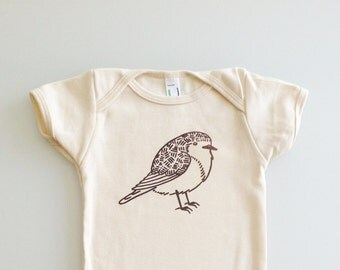 European Robin, printed romper, english garden bird, nature baby, fat bird onesie, cute baby gift - 18-24m (natural/brown ink)