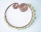 Spring green shawl pin with glass beads - First Buds of Spring