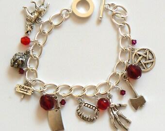 I'll Be Right Back... Horror Movie Themed Charm Bracelet. Spooky, scary Halloween charm bracelet