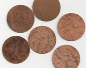 6 Textured Vintage Copper Circles