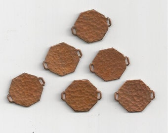 6 Textured Octagon Copper Links