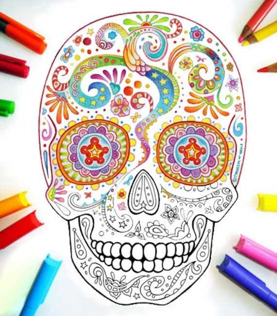 Sugar Skull Coloring Pages 21 Printable PDF Blank Sugar