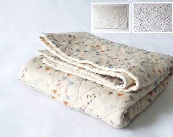 Made to order - organic cotton baby quilt - tiny triangles in blue, orange, pale pink and cream