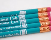 5 Pack of Teal Dark Turquoise Business Cat Pencils