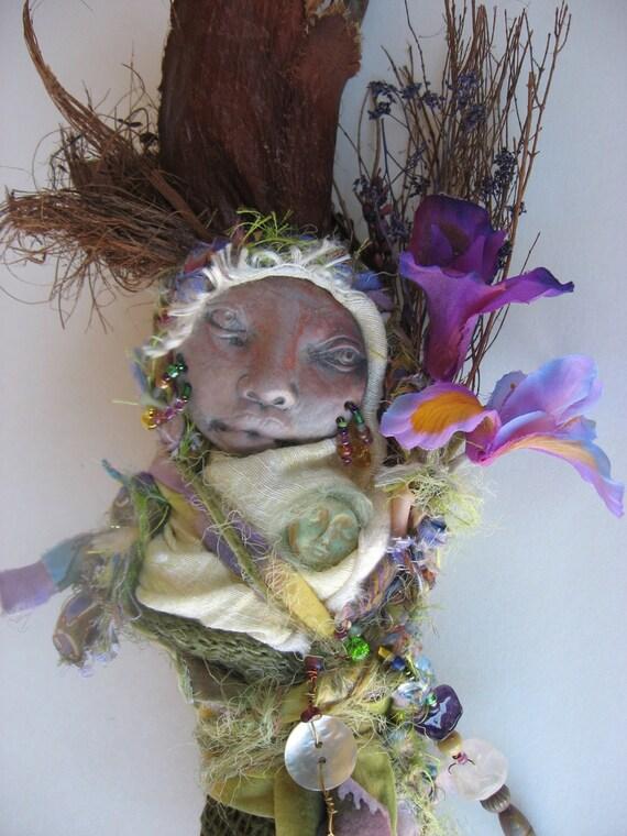 OOAK Secret Garden Moss and Heather, Assemblage Art doll, kitchen witch.