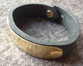 Brass curve leather cuff