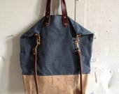 City tote in waxed denim and cork