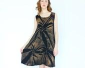vintage 90's MIDNIGHT PALM tree silhouette rayon summer dress