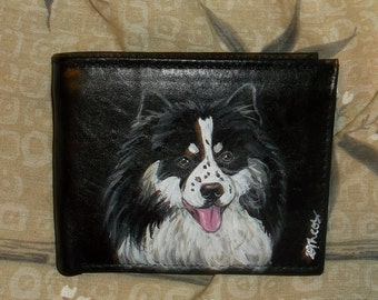 Finnish Lapphund Dog Custom hand Painted Leather Men's Wallet