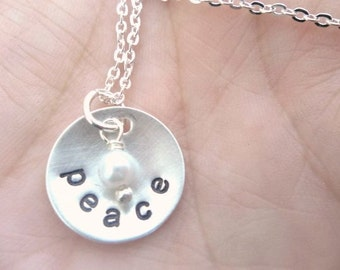 Personalized Hand Stamped Domed Sterling Silver Necklace with tiny vintage pearl - 5/8 inch disc