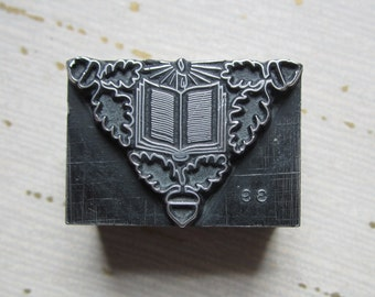 Vintage Letterpress Printers Block Metal Book and Candle Ornament Decoration