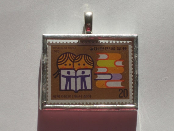 Postage Stamp Pendant - Encouraging Children to Read