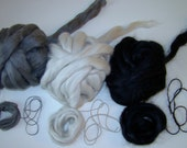 Handspinner Sampler: Carbonized Bamboo, Kid Mohair, 50/50 Suri Alpaca/Merino for Spinning 13.9oz total