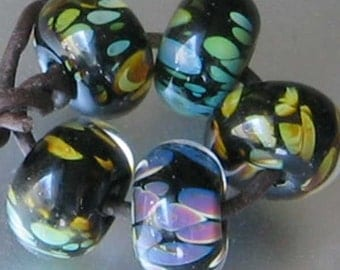 Autumn Leaf Pond 5 Lampwork Spacer Handmade Glass Frit Beads Encased Black Purple Blue