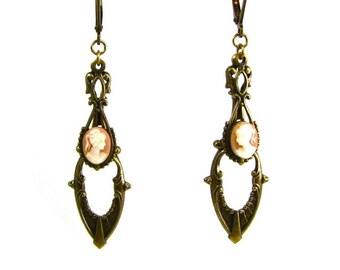 Art Deco Style Carnelian Cameo Dangle Earrings in Antiqued Brass by Nouveau Motley