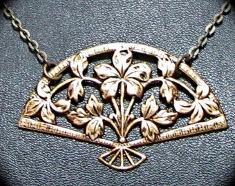 CLEARANCE 50% OFF Victorian Filigree Fan Necklace in Antiqued Brass