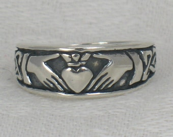 Claddagh band, Solid Sterling Silver band, Tapered band