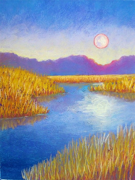 Summer Evening Moonrise Pastel Landscape Drawing Original Artwork Original Painting Summer Nights
