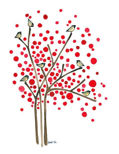 Winter Berries Watercolor Tree Art Print Winter Birds Artwork