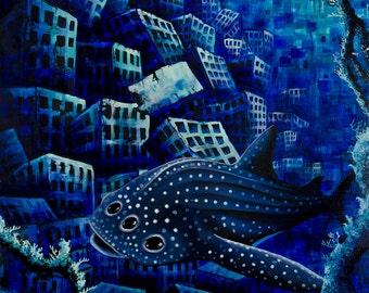 RW2 Original Mutated Whale Shark Painting by Robert Walker HUGE fantasy art acrylic canvas Environmental Surrealism