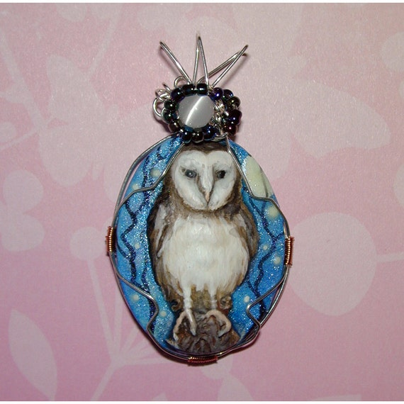 Barn Owl Hand Painted OOAK Pendant Wearable Art With Glow in the Dark Moon Stars