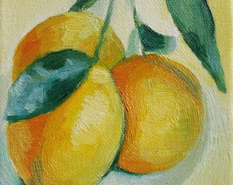 lemons archival print of original oil painting Meyer Lemon art