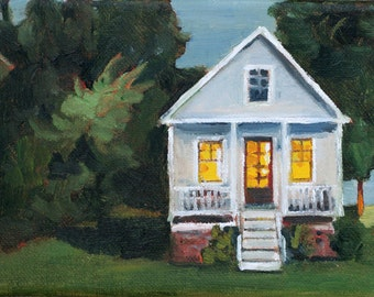 Cottage painting art archival print 8x10 House with lights on painting
