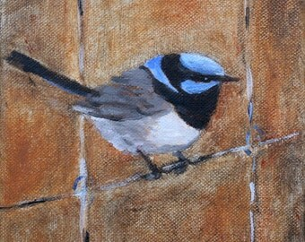 Fairy Wren on a Wire 6x6 inches print of original oil painting