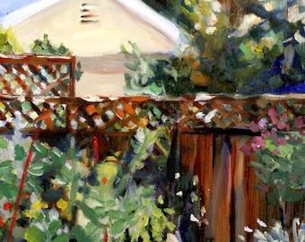 Backyard Fence print of original oil painting