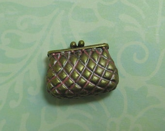 Dollhouse Miniature Pink Patina Quilted Clutch Purse