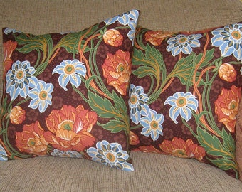 2 Pillow Covers, Brown Blue Green Pink Orange Flowers 16 inch