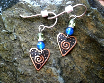Copper Stamped Heart Earrings, Stamped Metal, Willow Glass