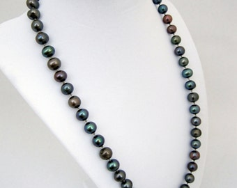 Freshwater Pearl Necklace, Peacock Colored Pearl Necklace, Hand Knotted Necklace, Bridal Necklace