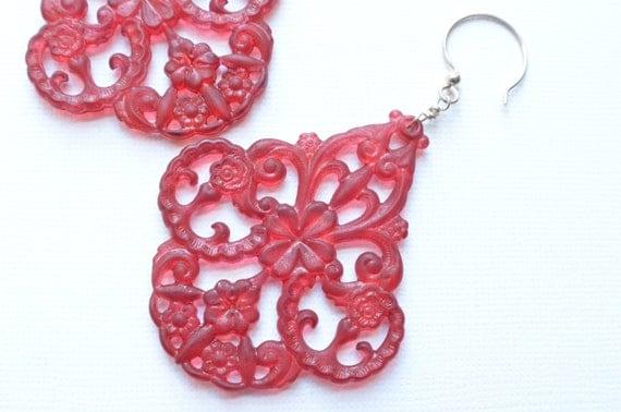 The Marrakesh- Red Lucite Chandelier Earrings