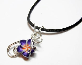 Made to Order - Design 11 - Aromatherapy Wire Wrapped  Polymer Clay Tropical Flower Bead PERFUME Pendant