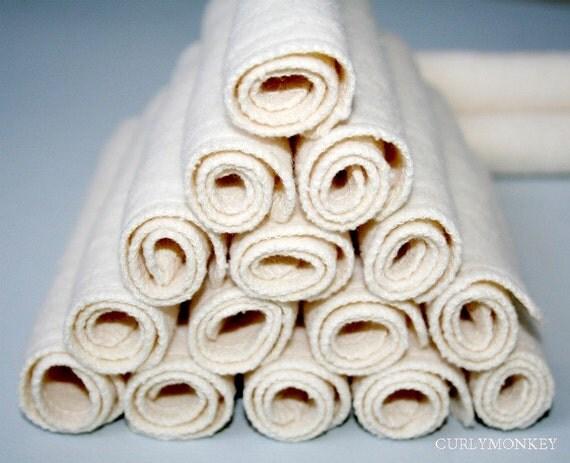"12 Organic Baby Wipes - Cloth Diaper Wipes - Eco Baby Washcloths - Hemp Organic Cotton Fleece. 7"" square"