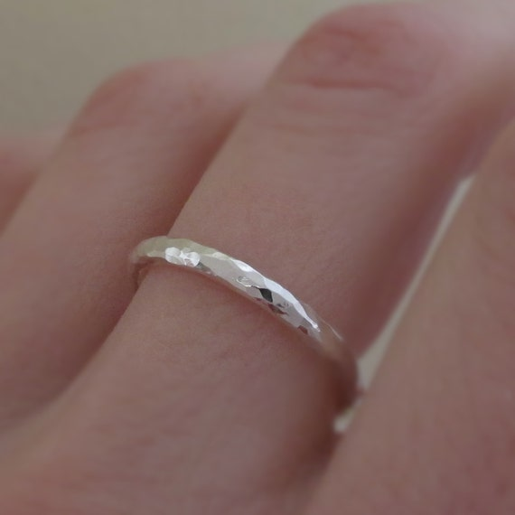 Hand Hammered Ring - Recycled Sterling Silver - 2 mm