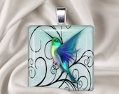 Blue Hummingbird  Glass Tile Pendant Necklace