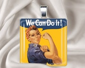 Rosie the Riveter - We Can Do It - Square Glass Tile Pendant Necklace