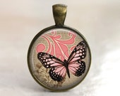 Pink Monarch - Glass Pendant in an Antique Gold Bezel Setting - 25mm or 1 Inch round