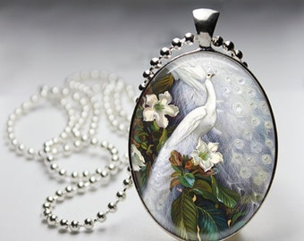 Elegant White Peacock - Oval Pendant in Silver Bezel - Chain Sold Separately