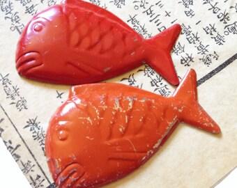 2pcs TINY FISH DISH 1960s Japan Doll Toy Miniature