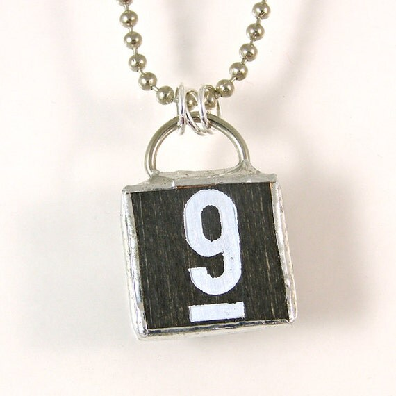 number 9 pendant necklace by xohandworks on etsy