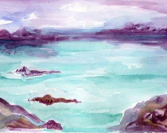 Seascape Watercolors Paintings, Original ocean artwork, modern sea watercolor painting, small ocean art, seascape painting watercolors