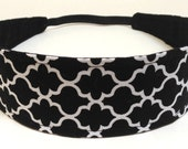 Headband for Women, Adult Headband, Womens Headband, Reversible Fabric Headband - Black & White Quatrefoil  - CHARLENE