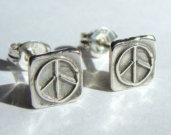 Peace Sign Studs Small Flat Studs Square Peace Sign Post Sterling Silver Earrings Stud Earrings Studs