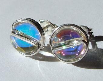 AB Crystal Globe 8mm Crystal Globe AB Swarovski Crystal Post Earrings Wire Wrapped in Sterling Silver Stud Earrings Crystal Studs