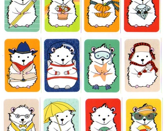 A Dozen Hamsters Sticker Set